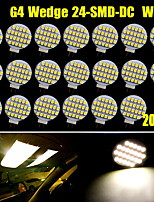 20x blanco caliente G4 24 SMD llevó jardín de casa barco marina bombillas luz del punto dc 12v nosotros