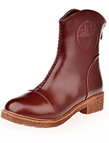 Women's Shoes Low Heel Round Toe Boots Casual Black / Brown / Burgundy