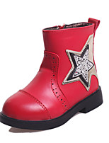 Bottes ( Noir / Rose / Rouge ) - Similicuir - Confort / Bottine / Bout Arrondi