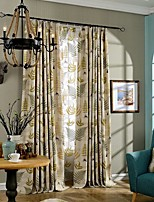 (Two Panel)Country Printing Leaves  Cotton Energy Saving Curtain