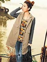 Women's Solid Black / Green / Khaki Coat , Casual Long Sleeve Polyester