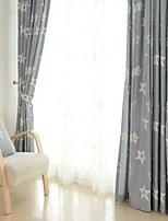 (Two Panel)Modern Star Embroidered  Linen Energy Saving Curtain(Sheer Not Included)