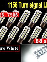 10X 6000K White 1156 BA15S LED 68SMD Light bulbs Tail Backup RV Camper 1141 1003