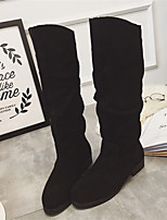 Women's Shoes Chunky Heel Round Toe Boots Casual Black / Burgundy