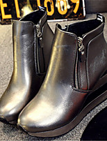 Women's Shoes  Wedge Heel Round Toe Boots Casual Black / Silver