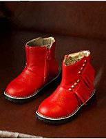 Girls' Shoes Party & Evening / Dress / Casual Combat Boots / Round Toe / Closed Toe Faux Leather Boots Black / Red