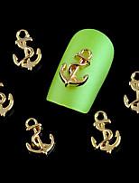 100pcs New Fashion  Gold Metal Anchors Shape Nail Art