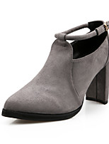 Women's Shoes Suede Chunky Heel Peep Toe Heels Outdoor Black / Gray