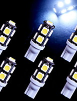 6 PCS Super White T10 9-SMD Wedge 5050 LED Light bulbs 192 168 194 W5W 2825 158