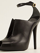 Women's Shoes Leather Stiletto Heel Heels Heels Wedding / Office & Career / Party & Evening Black