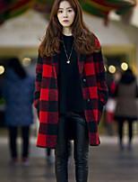 Women's Plaid Red Coat , Casual Long Sleeve Tweed