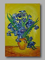 abstrait peinture à l'huile en toile de Van Gogh iris bleus repro peints à la main dans le vase déco maison un panneau