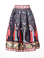 Fashion Women's Jacquard Fabrics Elegant Print Slim Elastic Waist Knee-length Skirts ZHA820