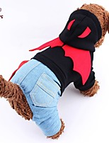 FUN OF PETS® Cute Devil Shaped Design Denim Jumpsuit with Hoodie for Pets Dogs (Assorted Sizes and Colours)