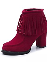 Women's Shoes Chunky Heel Heels / Fashion Boots / Bootie / Round Toe Heels / Boots Casual Black / Red