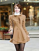 Damen Mantel  -  Arbeit Langarm Tweed / Polyester