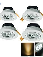 Lampes Encastrées Décorative Blanc Chaud / Blanc Froid YouOKLight 4 pièces 3W 3 LED Haute Puissance 300 LM AC 100-240 / AC 110-130 V