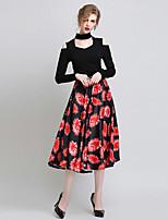 Women's Print Black Skirts , Vintage / Casual Midi