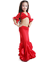 Belly Dance Tops / Dresses&Skirts Children's Performance Satin / Milk Fiber Ruffles 2 Pieces Fuchsia / Green / Red