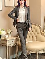 Women's Solid Black / Gray Blazer , Work Asymmetrical Long Sleeve
