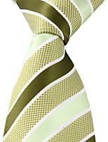 Navy Light Green Striped Jacquard Woven Silk Adult Necktie