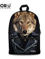 FOR U DESIGNS Cotton Casual Wolf Shoulder Bags/Laptop Backpacks/School Bags