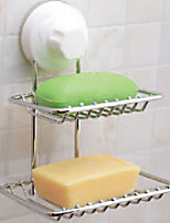 Women Bathroom Accessories Magic Sucker Double Layer Soap Box Case Dish Holder