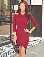 Women's Solid Red / Black / Brown Dress , Sexy / Bodycon Long Sleeve