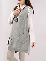 Women's Solid Red / Brown / Green / Beige / Gray Vest , Casual Sleeveless