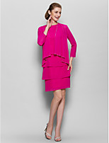 Sheath/Column Mother of the Bride Dress - Fuchsia Knee-length Long Sleeve Chiffon