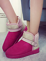 Women's Shoes Warm Thicken Flat Heel Snow Boots / Round Toe Boots Casual Brown / Pink / Burgundy