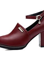Women's Shoes Leatherette Chunky Heel Heels Heels Outdoor / Dress / Casual Black / Burgundy