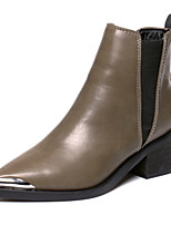 Women's Shoes   Chunky Heel Pointed Toe Boots Casual Black / Brown