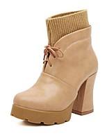 Women's Shoes Synthetic Chunky Heel Closed Toe Boots Casual Black / Khaki