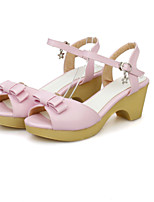 Women's Shoes Leatherette Chunky Heel Ankle Strap / Styles Sandals Outdoor / Casual Blue / Yellow / Pink / White
