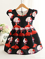 Girl's Fashion Simplicity  Cotton Blend   Fall/Spring  Cute Girl Printing Jumper Skirt Princess Dress