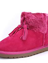 Zapatos de mujer - Tacón Plano - Comfort / Botas de Nieve - Botas - Exterior / Casual / Fiesta y Noche - Ante - Negro / Marrón / Rojo