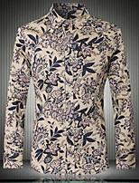 Men's Fashion Casual Long Sleeved Printing Plus Size Shirt , Cotton