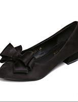 Women's Shoes Suede Low Heel Pointed Toe Heels Casual Black / Gray