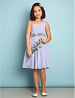 Knee-length Chiffon Junior Bridesmaid Dress - Lavender A-line One Shoulder