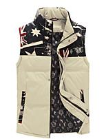 Men's Regular Parka Coat , Cotton Blend / Polyester Pure Sleeveless Plus Size
