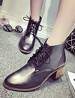 Women's Shoes  Vintage British Chunky Heel Pointed Toe Boots Dress / Casual Black / Gray