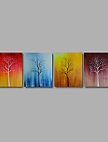 Hand-Painted Oil Painting on Canvas Wall Art Abstract Trees Landscape Flowers Four Panel Ready to Hang