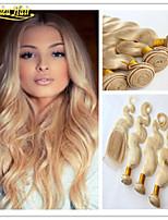 3 pc / lotto onda brasiliana del corpo di grado 8a capelli vergini 3 bundle con chiusura dell'onda del corpo brasiliano capelli umani del