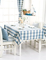 Light Blue  Plaid Lacy  Design  Jacquard  Tablecloths Fabric Tea Tablecloth