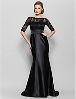Trumpet/Mermaid Mother of the Bride Dress - Black Floor-length Half Sleeve Lace / Charmeuse
