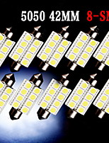 10 X PURE White 42MM 5050 Festoon Dome Map Interior LED Light bulb 211-2 578 569