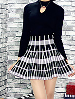 Women's Color Block Black Skirts , Casual Above Knee