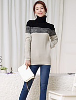 Women's Striped / Patchwork Beige Pullover , Casual Long Sleeve