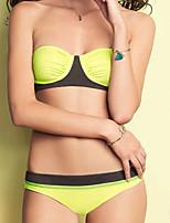 Women's Halter Bikinis , Color Block / Bandage Push-up / Underwire Bra Nylon / Spandex Yellow